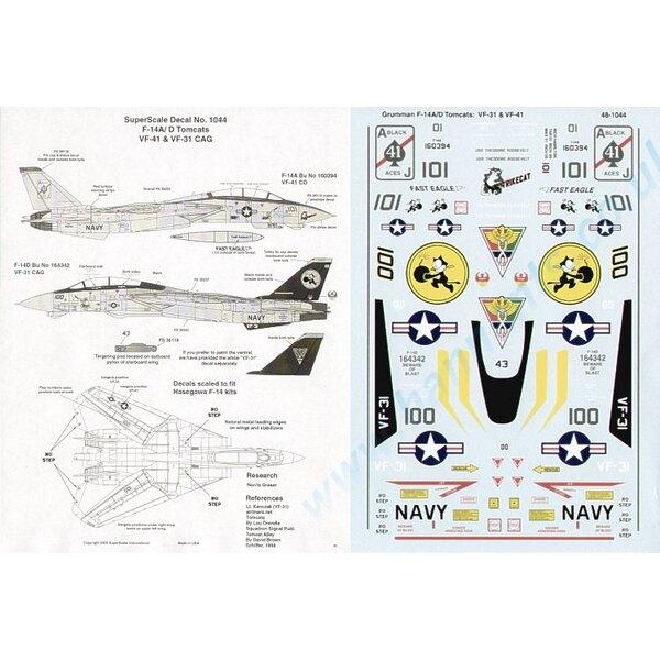 Grumman F-14A/D Tomcat (2) Grumman F-14A 160394/101 VF-41 with `StrikeCat′ Nose Art ; 164342/100 VF-31 CAG