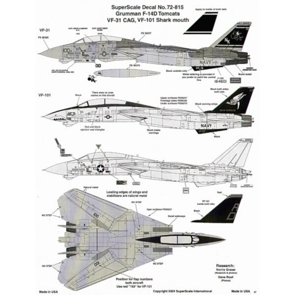 Grumman F-14D Tomcat (2) 164601 NK/100 VF-31 CAG USS Abraham Lincoln low vis, black tail; 163414 AD/163 VF-101 Grim Reapers, Red