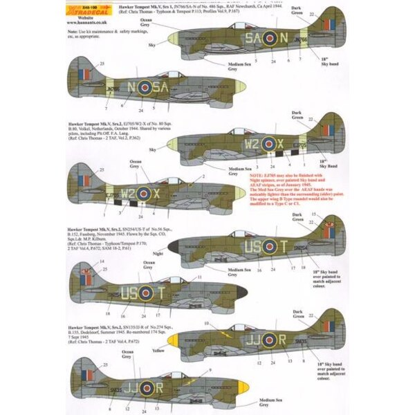 Decals Hawker Tempest Mk. V (4) JN766 SA-N 486 Squadron RAF Newchurch 1944; EJ705 W2-X 80 Squadron Volkel, partial D-Day stripes