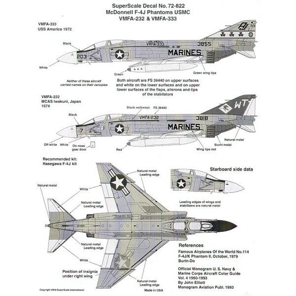 McDonnell F-4J USMC (2) 153818 WT/7 VMFA-232 ; 153855 AJ/203 VMFA-333