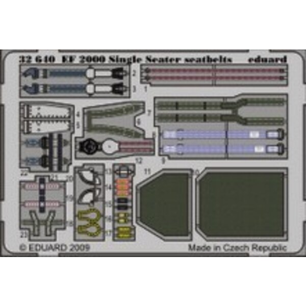 Eurofighter EF-2000 Typhoon single seat seatbelts (designed to be assembled with model kits from Trumpeter)