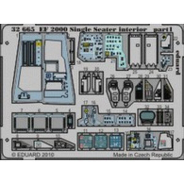 Eurofighter EF-2000 Typhoon single seat interior (self adhesive) (designed to be assembled with model kits from Revell)