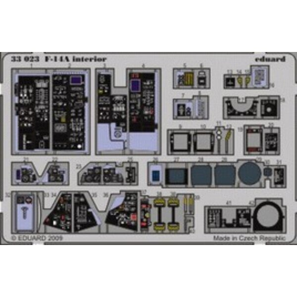 Grumman F-14A interior (self adhesive) PRE-PAINTED IN COLOUR! (designed to be assembled with model kits from Tamiya)