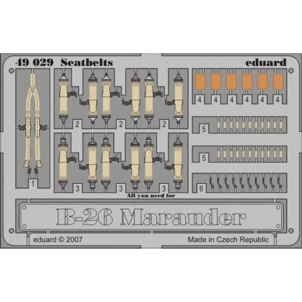 Martin B-26 Marauder seatbelts PRE-PAINTED IN COLOUR! (designed to be assembled with model kits from Monogram and Revell)