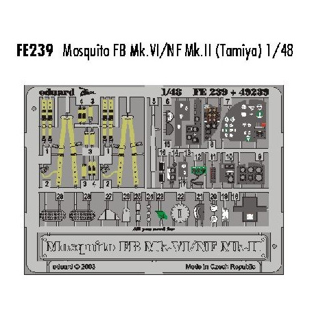 Eduard 1//48 A6M3 modèle 32 Zero Landing rabats pour TAMIYA # 48683