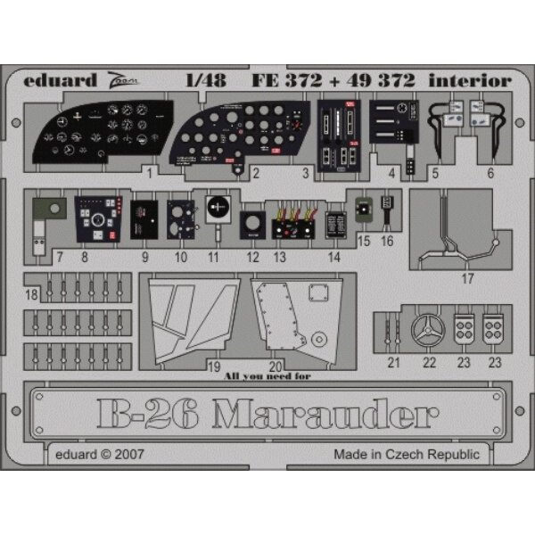 Martin B-26 Marauder interior PRE-PAINTED IN COLOUR! (designed used with Monogram and Revell) This Zoom set is a simplified vers
