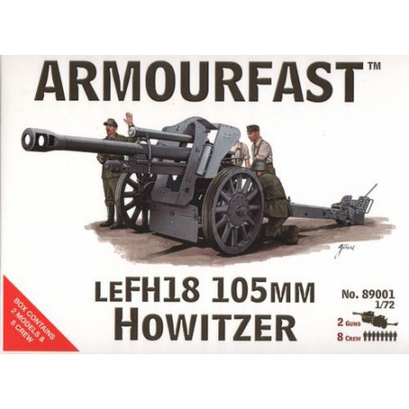 LeFH18 105mm with crew. Contains 2 guns and 8 figures.