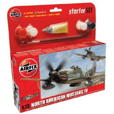 North-American P-51D Mustang Starter Set includes Acrylic paints, brushes and poly cement