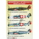 decals decals bf 109 g-6/g-14 (swiss air force) (designed to be used with academy, fine molds, hase