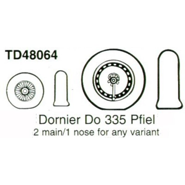 Dornier Do 335A/Do 335B (2) Resin main and (1) Resin nose wheel, Smooth Tread For any variants. (designed to be used with Monogr