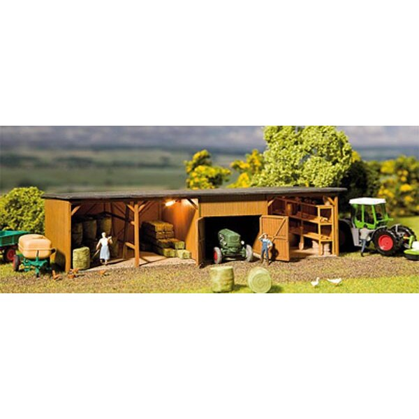 Hay bale store with workshop