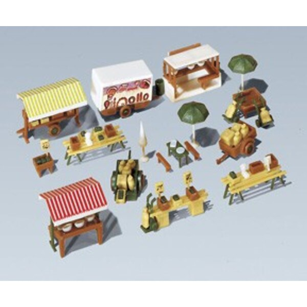 Market stands and carts