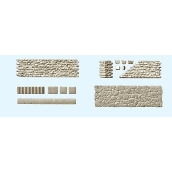 sets of walls, pavers, stone staircases