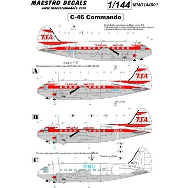 Curtiss C-46 Commando decal TransAir. Decals options to make any of Trans Airs C-46 airframe - in either early or late livery PL
