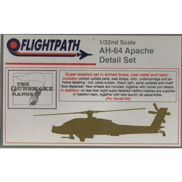 Hughes AH-64A Apache Detail Set A photo-etched/resin/cast metal set to detail and update the Revell kit, including cockpit upda