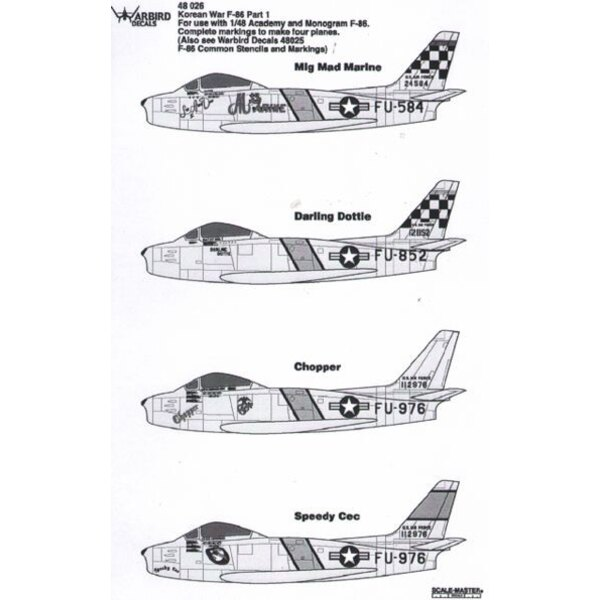 Korean War F-86 Part 1 (designed to be used with Academy and Monogram F-86) (Also see WB48025) Mig mad marine,Darling Dottie,