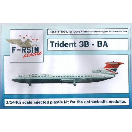 Trident 3B - British Airways - laser-printed decals with white silk-screened registrations.