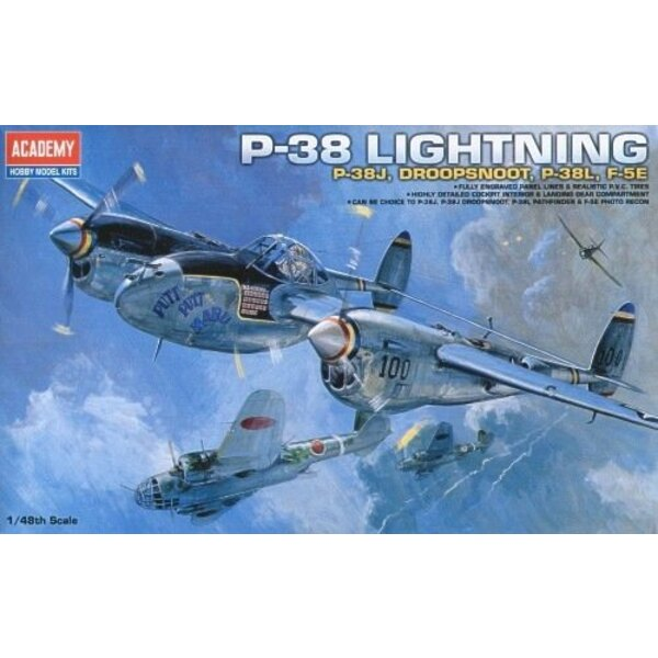Lockheed P-38 Lightning. Includes alternative parts to make Lockheed P-38J, Lockheed P-38J Droopsnoot, Lockheed P-38L Lightning