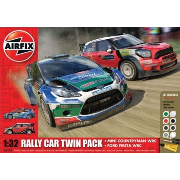 Ford Fiesta WRC and MINI Countryman WRC Gift Set Includes Acrylic paints, brushes and poly cement