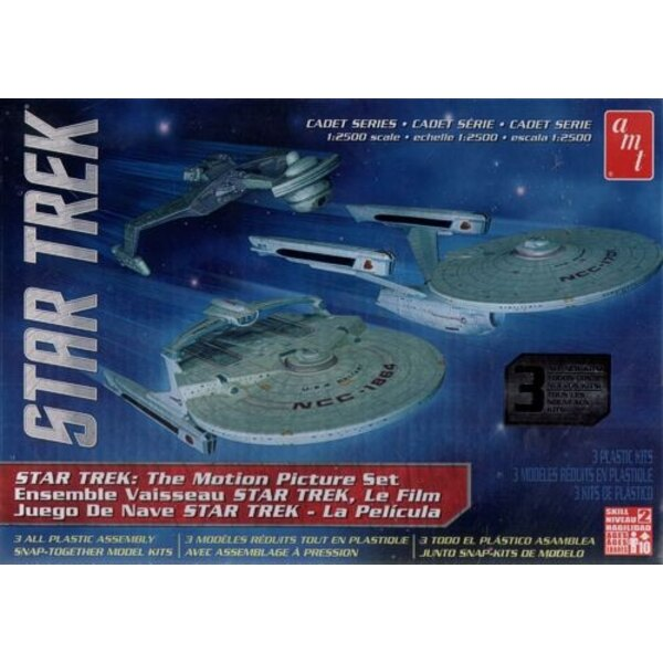 3 Ship Set - Star Trek Cadet Series - U.S.S. Enterprise Refit - U.S.S. Reliant - Ktinga Klingon Battle Cruiser 1/25