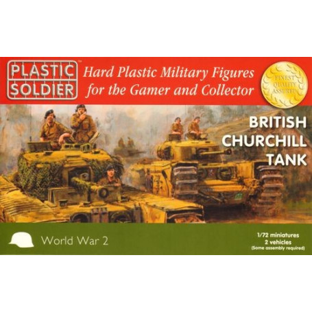 Churchill. Easy Assembly plastic injection moulded 1/72nd British Churchill tank. Each sprue has options to build Mk.IV, Mk.VI (