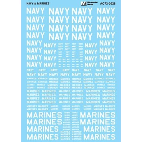 White -Navy And Marines Assorted Size words