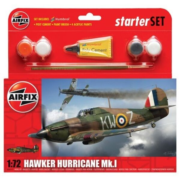 Hawker Hurricane Mk.I gift or starter set with paints , paint brush and poly cement