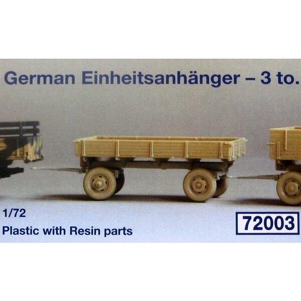 German 3000 Einheitsanhanger -3 tonnen standard trailer. In Plastic with 4 Resin Parts