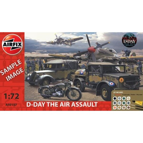 D-Day Air Assault Gift Set (gift or starter set with paints, paint brush and poly cement)
