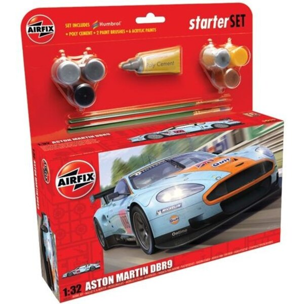 Aston Martin DBR9. Set includes glue 2 Paint Brushes and 6 Acrylic Paints.
