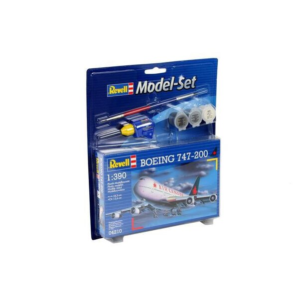 Boeing 747-200 Model Set - box containing the model, paints, brush and glue