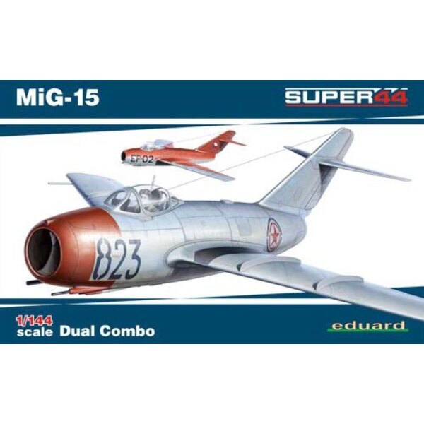 Mikoyan MiG-15 Dual Combo Eduard plastic (2014 tool), decals printed by Eduard, 6 marking options. Mask, full color instructions