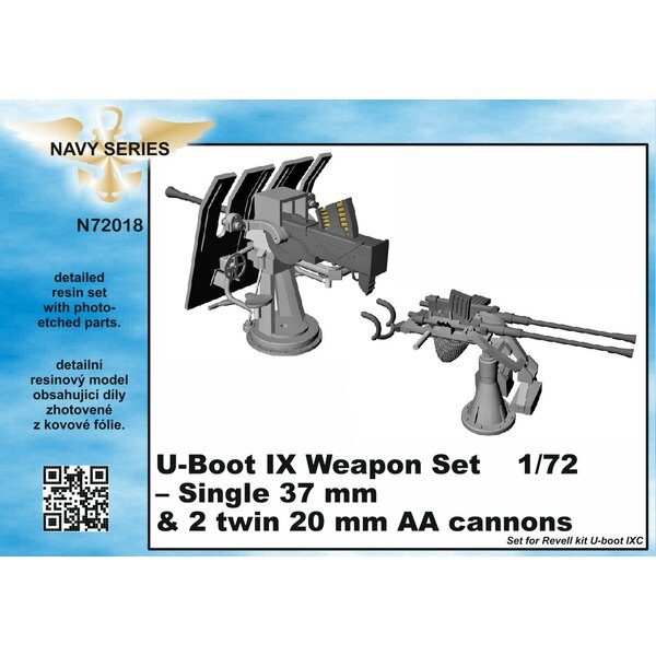 Type IXC weapons set - single 37mm and 20mm AA cannons [designed to be used with Revell kits) (U-Boot/U-Boat/U Boat/U Boot/Subma