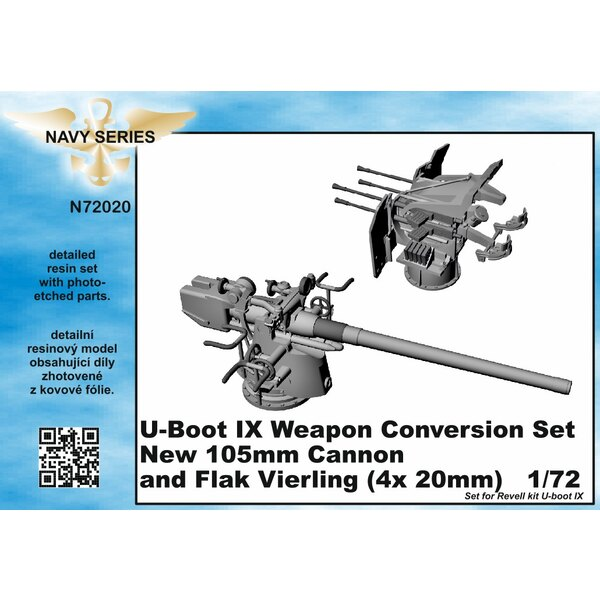 Type IXC weapon conversion set - new 105mm cannon and Flak Vierling 4 x 20mm [designed to be used with Revell kits) (U-Boot/U-Bo