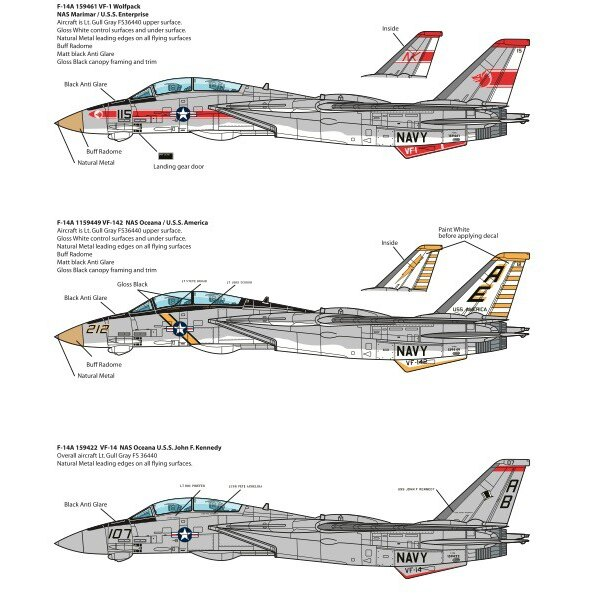 Grumman F-14A Tomcats. This set includes VF-1, VF-14 & VF-142 decorations. The F-14 was initially equipped with two Pratt & Whit