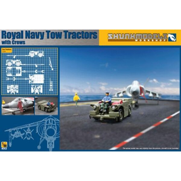 Royal Navy Tow Tractors with Crew.Contains 2 sets of two tractor and 4 crew figures + cardboard carrier deck