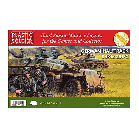 German Sd.Kfz.251 Ausf.C Halftrack with Variants Kit. This kit contains 3 x 251/C Halftracks, 24 crew figures and a variety of s
